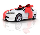 Car and red ribbon — Stock Photo
