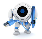 Robot and computer cable — Stock Photo