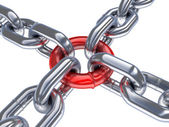 Chain and red ring — Stock Photo