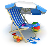 Beach bed and tent — Stock Photo