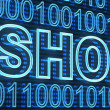 E-shop and binaty code — Stock Photo