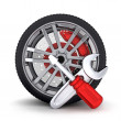 Wheel and tools — Stock Photo