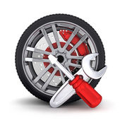 Wheel and tools — Stockfoto