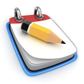 Notebook and pencil — Stockfoto