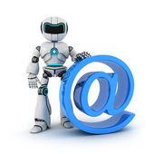 Robot and sign email — Stock Photo