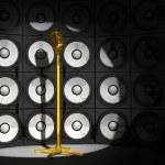 sfondo audio e microfono — Foto Stock