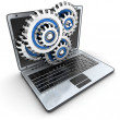 Laptop and gears — Stock Photo #46837415