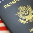 Stock Photo: Passport and flag