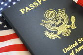 Passport and flag — Stock Photo