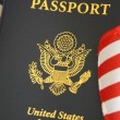 Foto Stock: Passport and flag