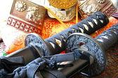 Samurai swords and helmet — Stock Photo