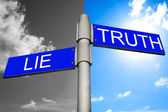 Street signs showing the directions to LIE and TRUT — Stock Photo