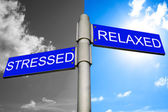 Healthcare concept - Street signs showing the paths to stressed — Stock Photo