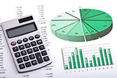 Business analysis - finances and calculator — Stock Photo