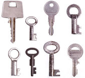 Collection of keys - completely isolated on whit — Stok fotoğraf