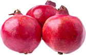 Three Ripe Pomegranates, completely isolated on whit — Stock Photo
