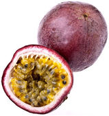 Passionfruit, completely isolated on whit — Stock Photo