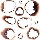 Large Collection of Burnt Holes in White Paper - Completely isol — Stock Photo