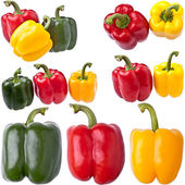 Large Collection of Bell Peppers, completely isolated on whit — Stock Photo