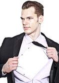 Bel giovane imprenditore strappando camicia diventare un superher — Foto Stock