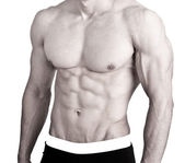 Muscular male torso sixpack isolated on white — Stock Photo