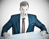 Anger management - young businessman expressing negativit — Stok fotoğraf