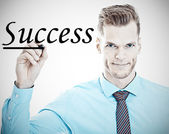 Success - Young businessman underlines the word success on a gla — Stock Photo