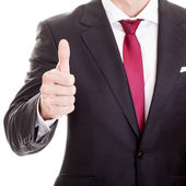 Satisfied businessman showing thumb up, isolated on whit — Stock Photo