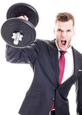 Success Concept - Businessman lifting dumbbell and screaming, is — Stock Photo