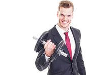 Businessman lifting dumbbell isolated on white backgroun — Stock Photo