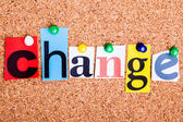 The word Change in cut out magazine letters pinned to a cork not — Stock Photo