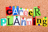 The phrase career planning in cut out magazine letters pinned to — Stock Photo