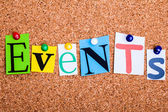 The word Events in cut out magazine letters pinned to a cork not — Stock Photo