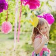 Little girl with a toy crown — Stock Photo #12941826