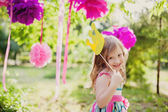 Little girl with a toy crown — Stock Photo