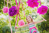Girl celebrating birthday in park — Stock Photo
