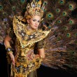 Dancer in a golden dress with peacock feathers — Stock Photo #13344595