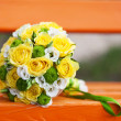 Yellow wedding bouquet — Stock Photo