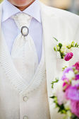 Close-up of elegance groom suit and tie — Stock Photo