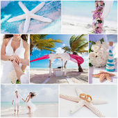 Wedding ceremony when on the beach, collage — Stock Photo