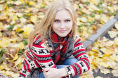 Young blond woman sitting on yellow leaves in the park — Stok fotoğraf