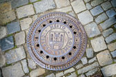 Hatch of sewage on the paving road — Stock Photo