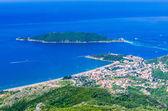 View on mountain, sea, Budva and Sveti Nikola island — Stock Photo