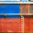 Stock Photo: Waterline ship displacement marked on ship side
