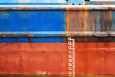 Waterline ship displacement marked on the ship side — Stock Photo