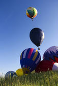 Floating сolorful hot air balloons — Stock Photo