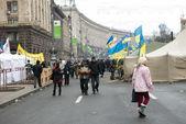 Disturbios en la calle en kiev khreschatyk — Foto de Stock