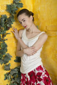 Rustic portrait of a young woman — Stock fotografie