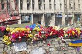 Цветы на баррикады из Киева — Стоковое фото