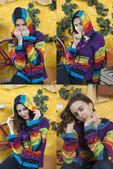 Collage of four portraits of girl — Stock Photo
